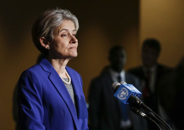 Irina Bokova speaks with reporters on the selection of the next UN Secretary-General at the UN headquarters in New York (File)