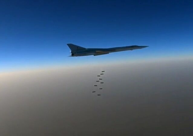 A Russian Air Force long-range bomber TU-22M3 seen here bombing ISIS targets near the towns of es-Sohne, Arak and al-Taiba in the Syrian province of Homs