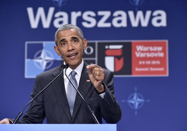 US President Barack Obama addresses a press conference during the second day of the NATO Summit at the Polish National Stadium in Warsaw on July 9, 2016