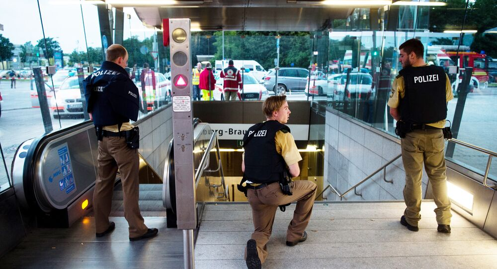 Police secures the entrance to a subway station near a shopping mall where a shooting took place on July 22, 2016 in Munich