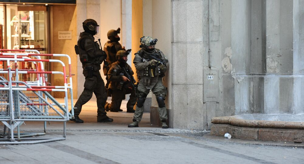 Police secures the area of a subway station Karlsplatz (Stachus) near a shopping mall following a shooting on July 22, 2016 in Munich