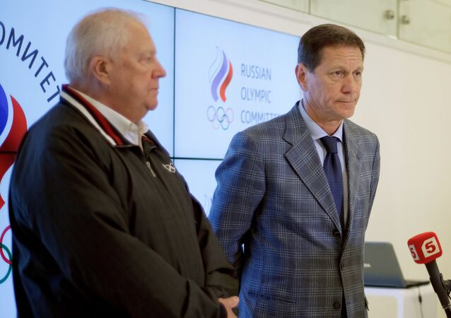 Member of International Olympic Committee (IOC) Vitaly Smirnov and Russian Olympic Committee (ROC) President Alexander Zhukov