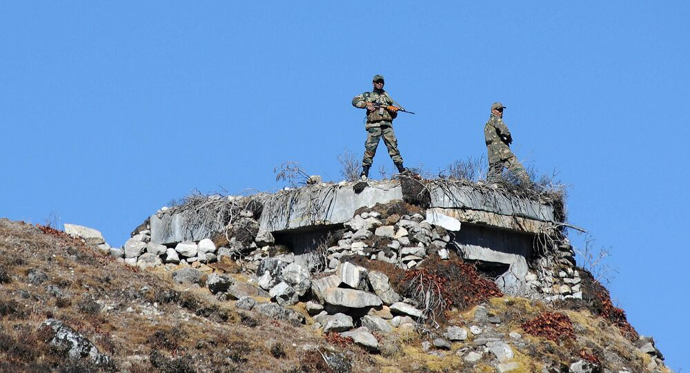 Indian Army personnel keep vigilance at Bumla pass at the India-China border in Arunachal Pradesh
