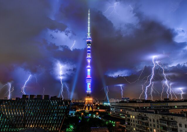 A lightning over the Ostankino TV tower in Moscow.