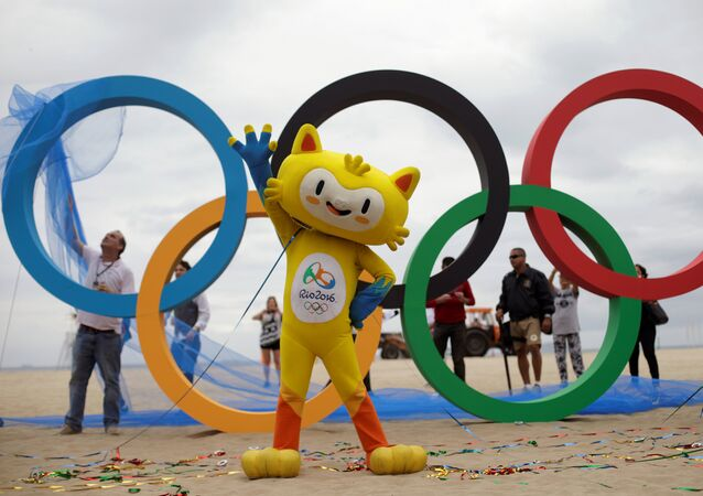 The 2016 Rio Olympics mascot Vinicius attends the inauguration ceremony of the Olympic Rings placed at the Copacabana Beach in Rio de Janeiro, Brazil, July 21, 2016.