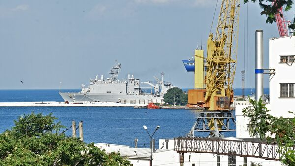 The USS Whidbey Island dock landing ship which arrived for the Sea Breeze 2016 exercise is seen here in Odessa port. - Sputnik International