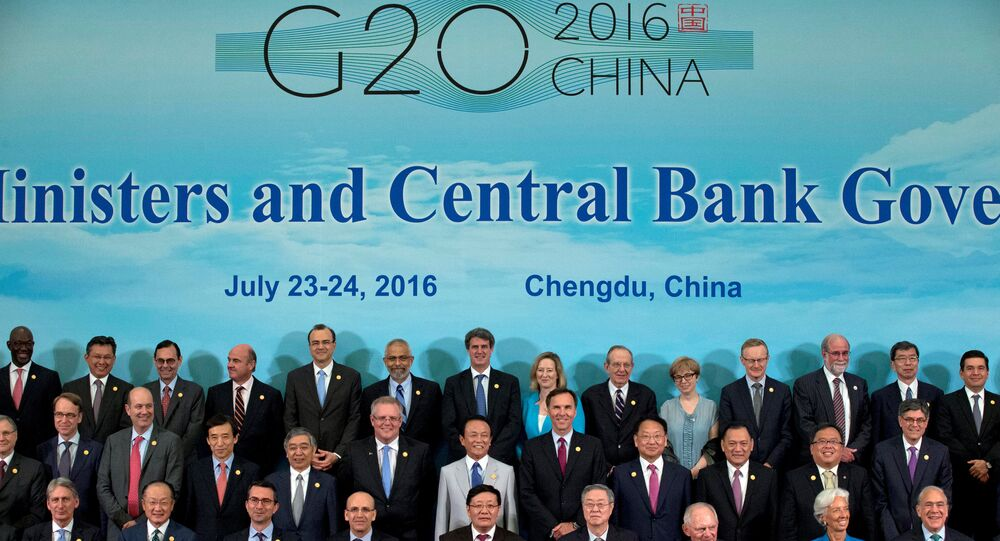 G20 Finance Ministers and Central Bank Governors during a group photo in Chengdu in Southwestern China's Sichuan province, Sunday, July 24, 2016.