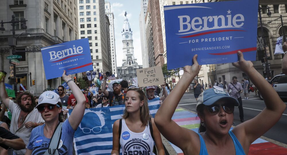 Supporters of Sen. Bernie Sanders, I-Vt., march during a protest in downtown on Sunday, July 24, 2016, in Philadelphia. The Democratic National Convention starts Monday in Philadelphia.