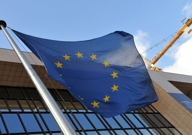 EU flag is seen in front of the EU Commission Headquarters in Brussels. (File)