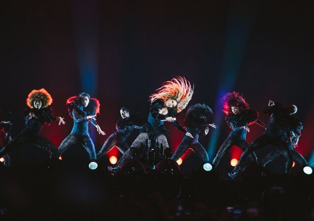 Beyonce performs during the Formation World Tour at Telia Parken in Copenhagen, Denmark