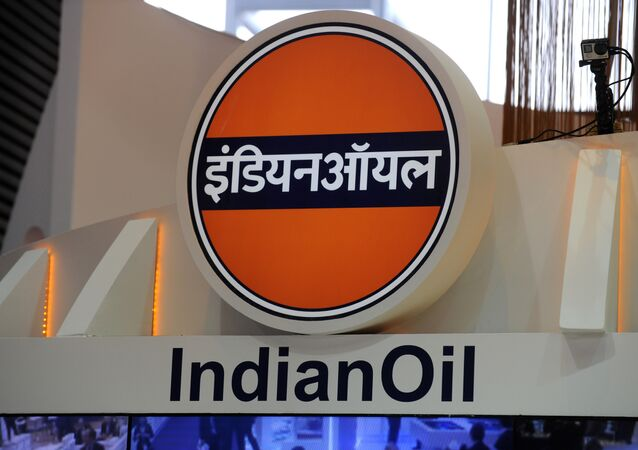 Logo of the Indian Oil Corporation during the World Gas Conference exhibition in Paris. (File)