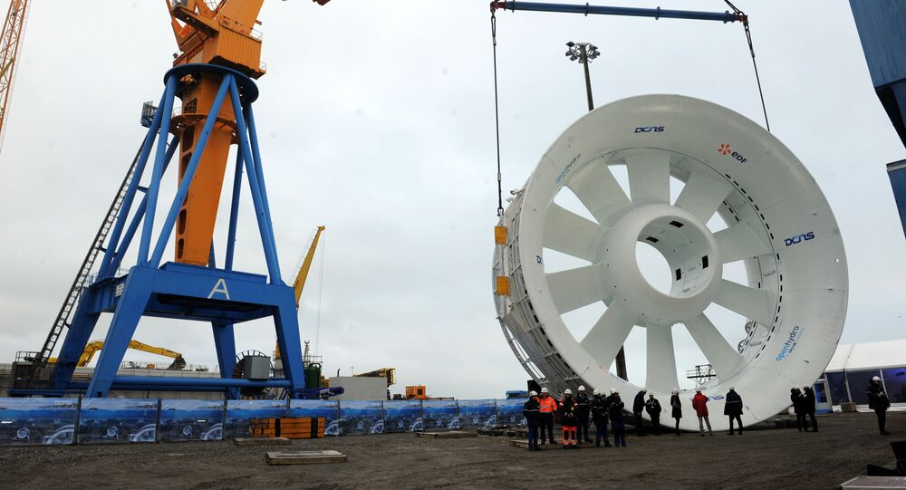 A hydrolienne (tidal marine turbine) is pictured on December 18, 2014 in Brest, western of France