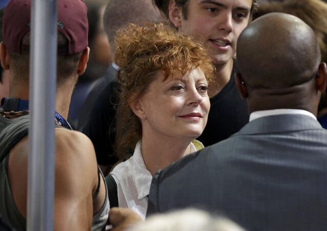 Actress Susan Sarandon appears on the convention floor during the Democratic National Convention in Philadelphia, Pennsylvania, U.S. July 25, 2016.