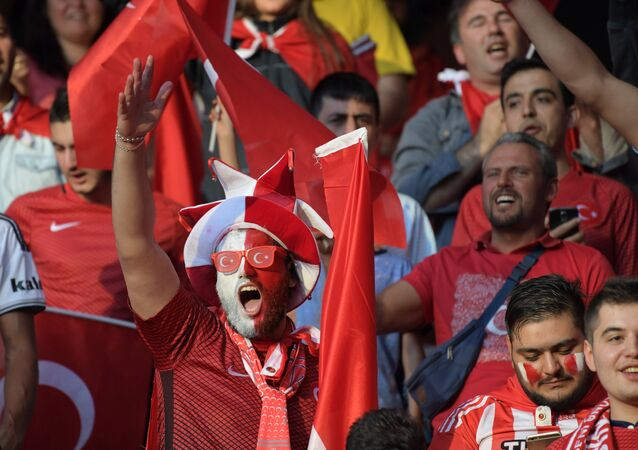 Turkish team fans prior to the 2016 UEFA European Championship group stage match between the national teams of Spain and Turkey