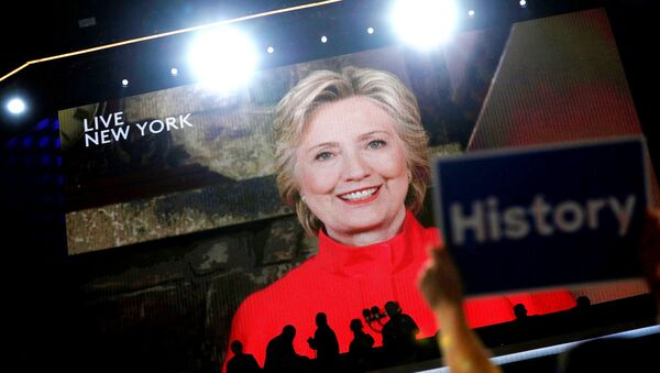 Democratic presidential nominee Hillary Clinton addresses the Democratic National Convention via a live video feed from New York during the second night at the Democratic National Convention in Philadelphia, Pennsylvania, US, July 26, 2016. - Sputnik International