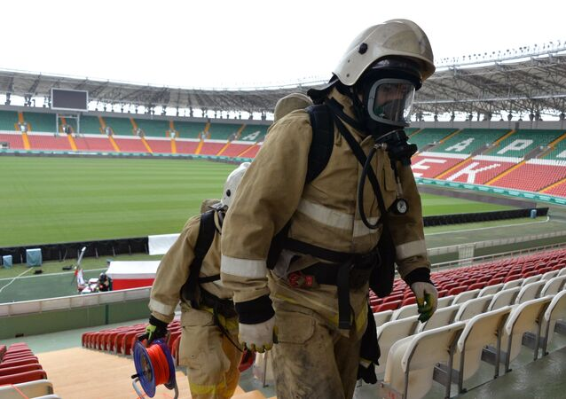 Emergencies Ministry employees during a fire and tactical exercise as part of the preparation for the 2018 FIFA World Cup at the Akhmat Arena stadium in Grozny