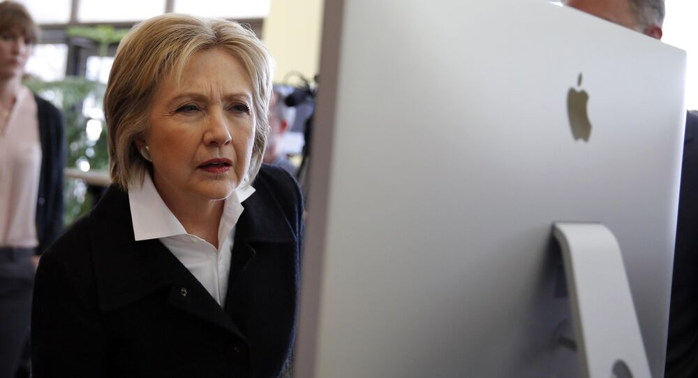 US Democratic presidential candidate Hillary Clinton looks at a computer screen (File)