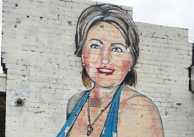 A caricature of Hillary Clinton in a revealing bathing suit