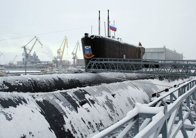 The Yury Dolgoruky nuclear-powered submarine seen during the ceremony of St.Andrew's flag-hoisting in the Sevmash shipyards, Severodvinsk. (File)