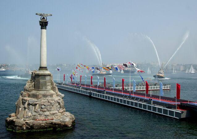 During the Navy Day celebrations in Sevastopol, Crimea