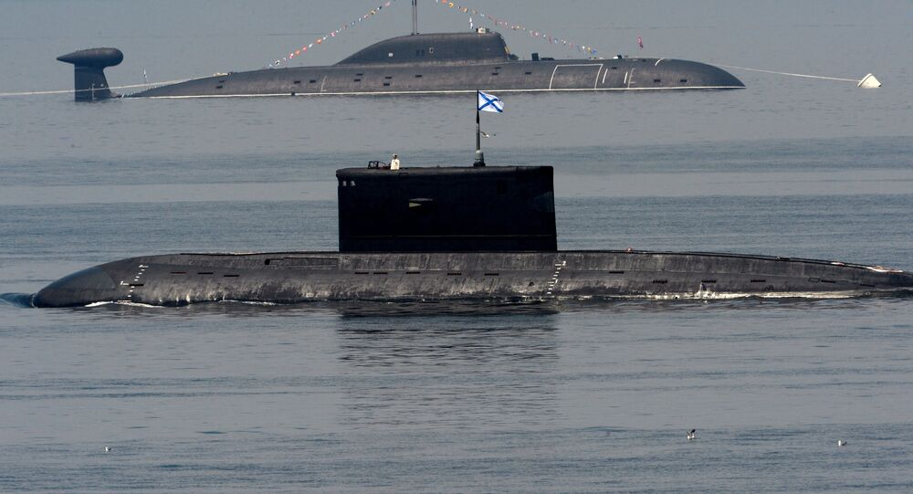 Russian Pacific Fleet submarines during Navy Day celebrations in Vladivostok