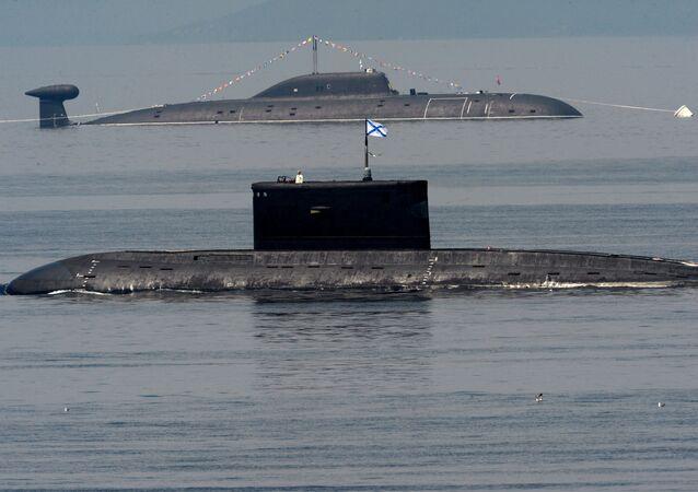 Russian Pacific Fleet submarines during Navy Day celebrations in Vladivostok