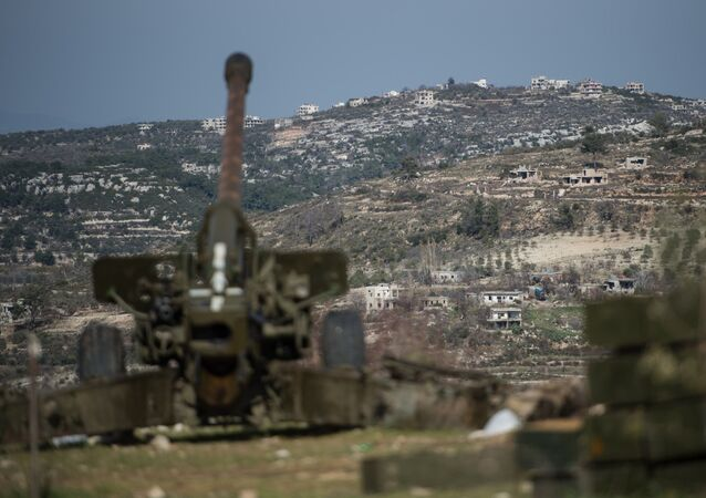 Syrian army artillery soldiers in Idlib province in northwestern Syria