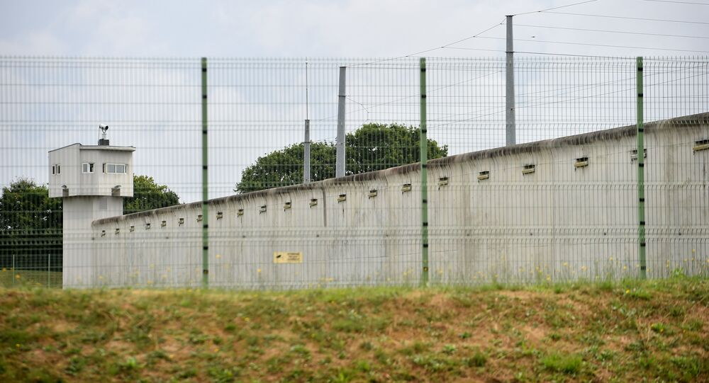A picture taken on August 4, 2016 shows the prison of Le Mans Les Croisettes in Coulaines, where two people including a prison warden and an inmate are held hostage by another inmate, according to police