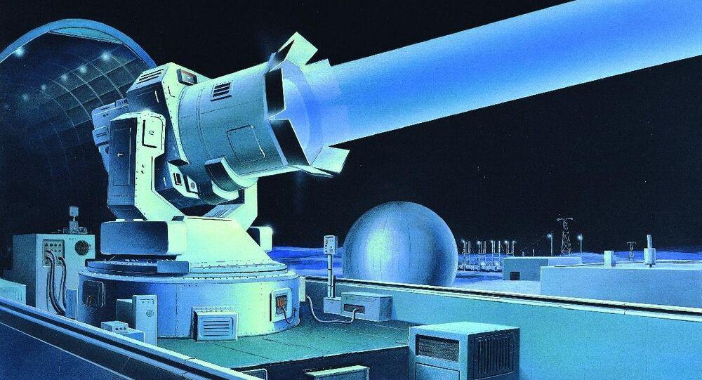 Soviet ground-based laser. Illustration from 1980s Defense Intelligence Agency publication 'Soviet Military Power'.