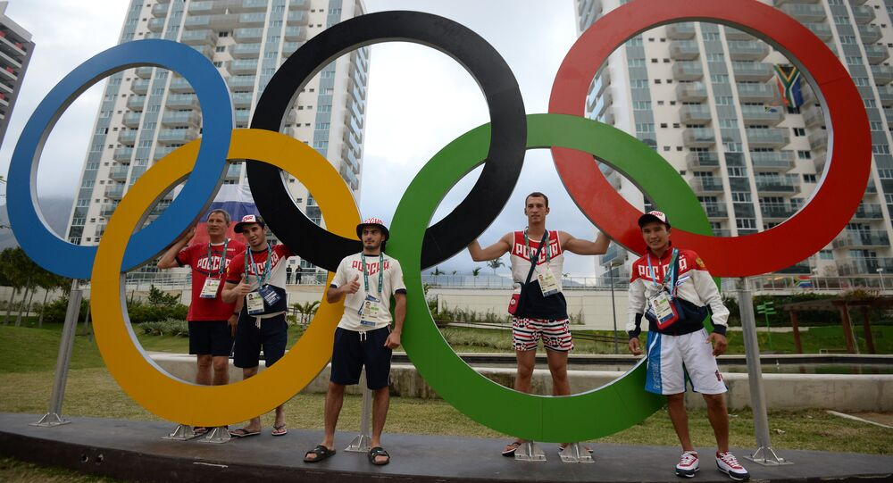Russian athletes at the Olympic village in Rio de Janeiro