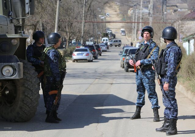Police officers during a raid in Dagestan. File photo