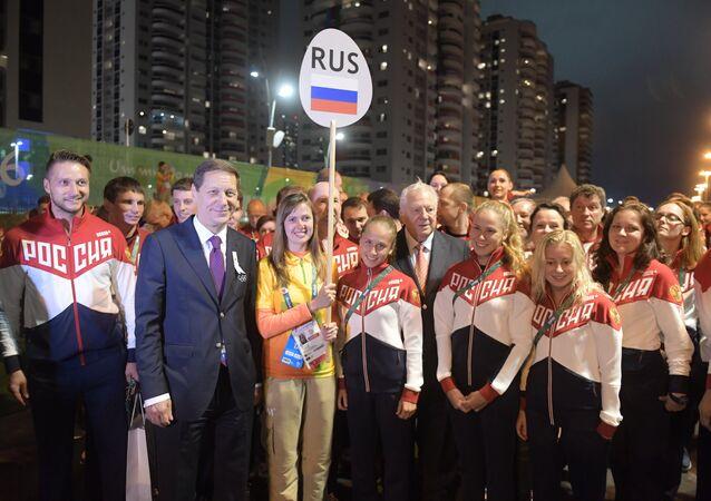 Flag raising ceremony in Olympic Village