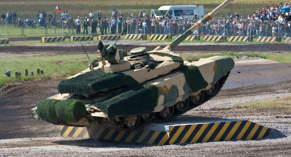 A Russian T-90MS main battle tank fitted with Nakidka radar-absorbent material camouflage.