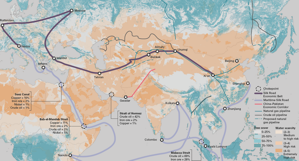 This map shows the breadth and scale of China's plans for 'new silk roads', including extensive transport and logistical links by land and sea.