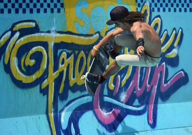 The French skater Remy Wacker takes part in qualifying rounds of the French stage of the World Cup Skateboarding ISU during the Sosh Freestyle Cup, June 19, 2015 on the Prado skatepark in Marseille