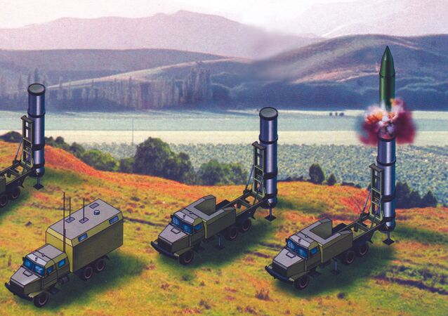 Artist rendering of the components of the Grom-2 short-range ballistic missile system