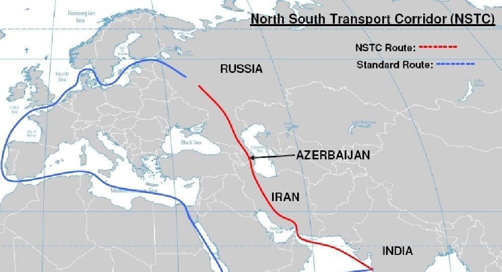 Map of North South Transport Corridor route vs standard route from India