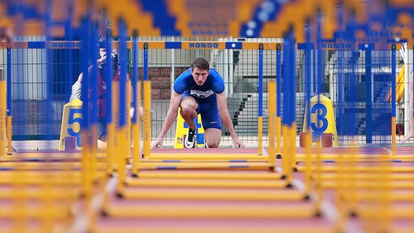 Sergei Shubenkov during the 110m hurdles event at the Russian Track and Field Cup at the Meteor stadium in Zhukovsky, Moscow Region. (File) - Sputnik International
