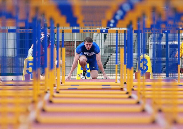 Sergei Shubenkov during the 110m hurdles event at the Russian Track and Field Cup at the Meteor stadium in Zhukovsky, Moscow Region. (File)