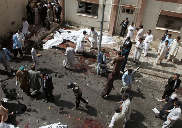 An overview of the scene of a bomb blast outside a hospital in Quetta, Pakistan