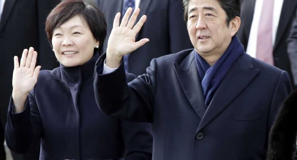 Japanese Prime Minister Shinzo Abe with his wife Akie Abe