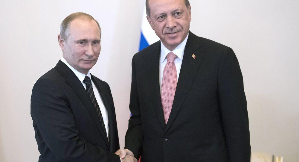 Russian President Vladimir Putin meets with Turkish President Recep Tayyip Erdogan at the Constantine Palace.