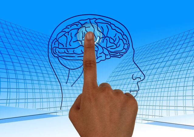 Finger pointing to an image of a brain