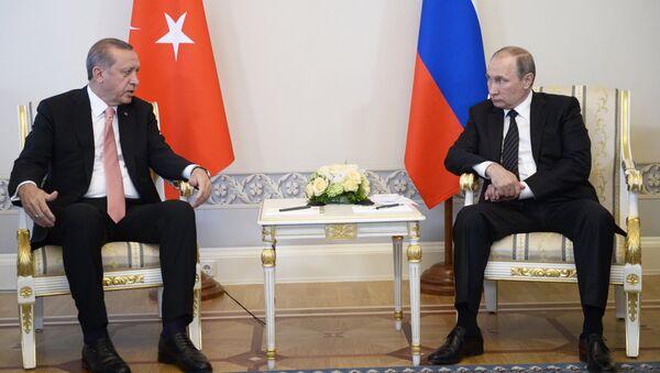 From right: Russian President Vladimir Putin meets with Turkish President Recep Tayyip Erdogan at the Constantine Palace - Sputnik International