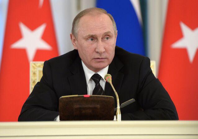 Meeting of Russian President Vladimir Putin and President of Turkey Recep Tayyip Erdogan in St. Petersburg