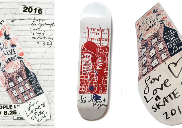 British artist Rob Ryan's skateboard design for Lovenskate shop