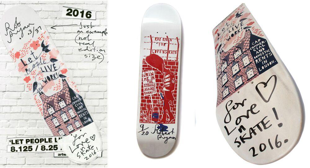British artist Rob Ryan's skateboard design for Lovenskate shop