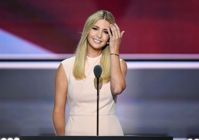 Republican presidential candidate Donald Trump's daughter Ivanka addresses delegates on the final night of the Republican National Convention, 2016