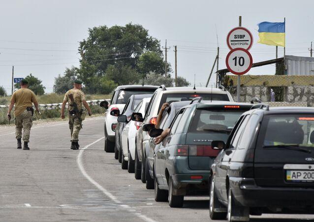Cars at Jankoi border crossing point on Russia-Ukraine border