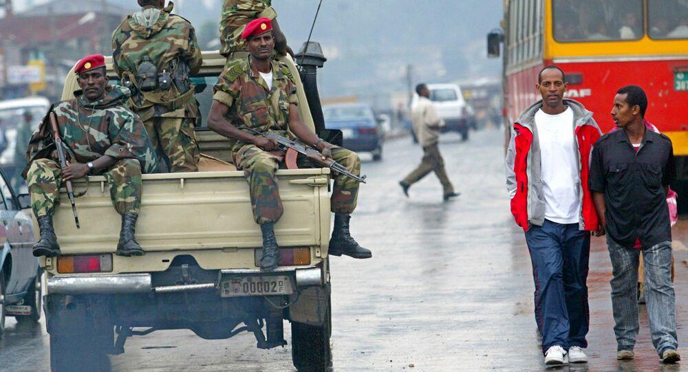 Members of the Ethiopian army patrol. (File)